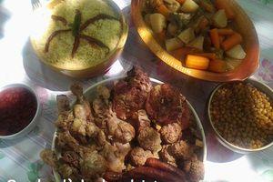 Recette du couscous familiale aux poulet, mouton, kefta et merguez