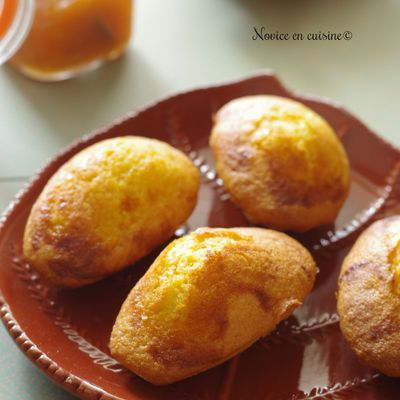 Madeleines coeur confiture abricots