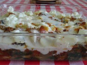Gratin de pommes de terre aux épinards et coulis de tomates à la viande hachée