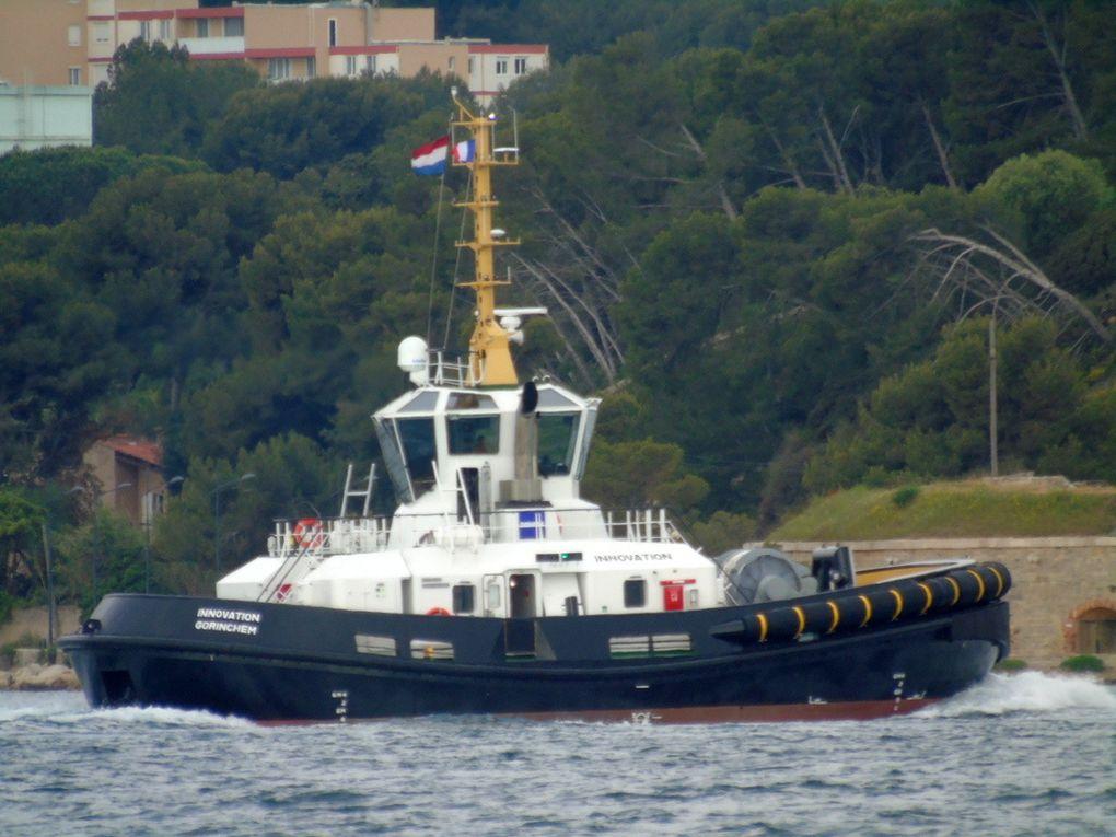 INNOVATION , remorqueur  arrivant et à a à la Seyne sur Mer quai le 5 mai 2018