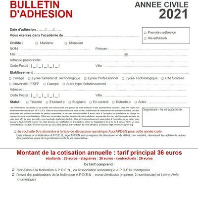 Bulletin d'adhésion pour l'année civile 2021