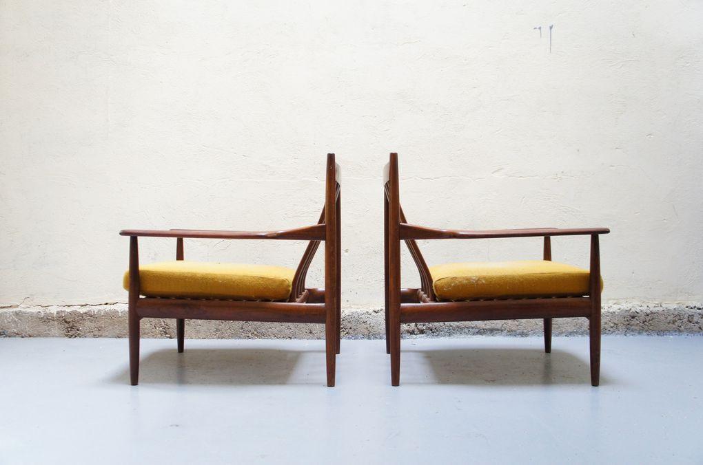 Vendu - Paire fauteuil Grete Jalk scandinave danois teck années 50 60 vintage design designer