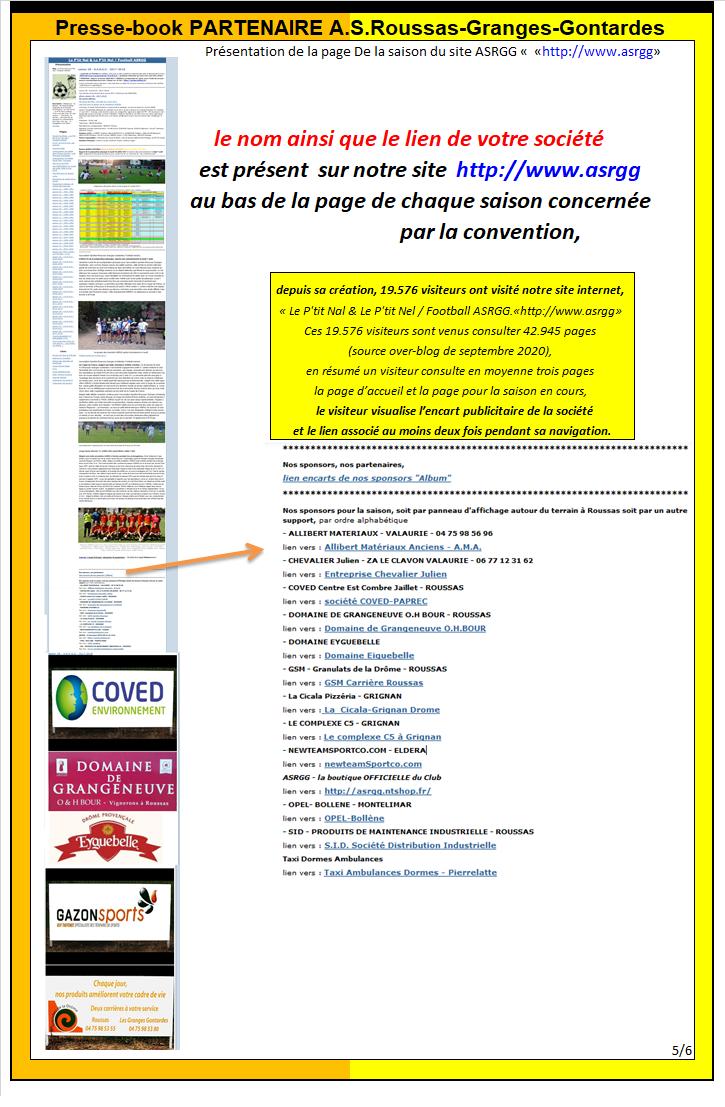 Press Book de l'ASRGG 2020-2021 pour nos partenaires