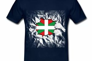 T shirt Pays Basque bleu m homme 64 Drapeau basque Design