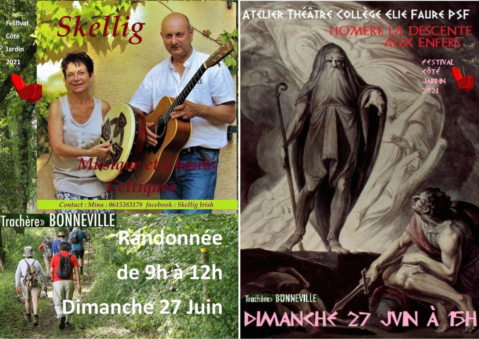 Dimanche 27 Juin suite de la programmation du festival : Randonnée avec Skellig et L'Atelier Théâtre du Collège Elie Faure