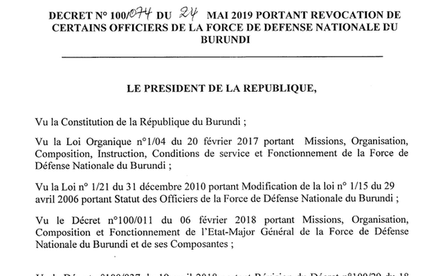 Quatre officiers révoqués de la Force de Défense Nationale du Burundi