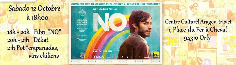 """Orly, le samedi 12 octobre, projection (""""NO"""" de Pablo Larrain) puis débat"""
