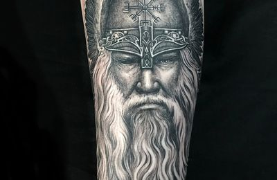 Odin Viking tattoo by Roxane Duquenne