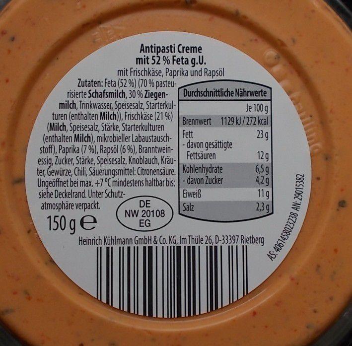 Aldi Wonnemeyer Antipasti Creme Feta