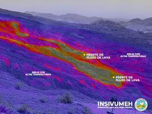 Pacaya - drone / camerathermic measurements of hot spots and extent of flows - Insivumeh images - one click to enlarge