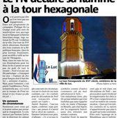 La tour hexagonale du Luc sur mer s'éclaire aux lumières du FN