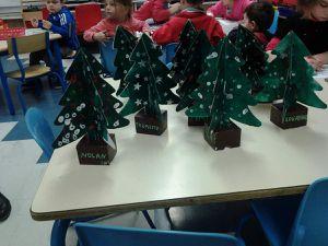 Les 4 groupes des petites sections ont, pour Noël, réalisé un sapin, une boîte et un drapeau Breton avec du papier crépon pour le début d'année.