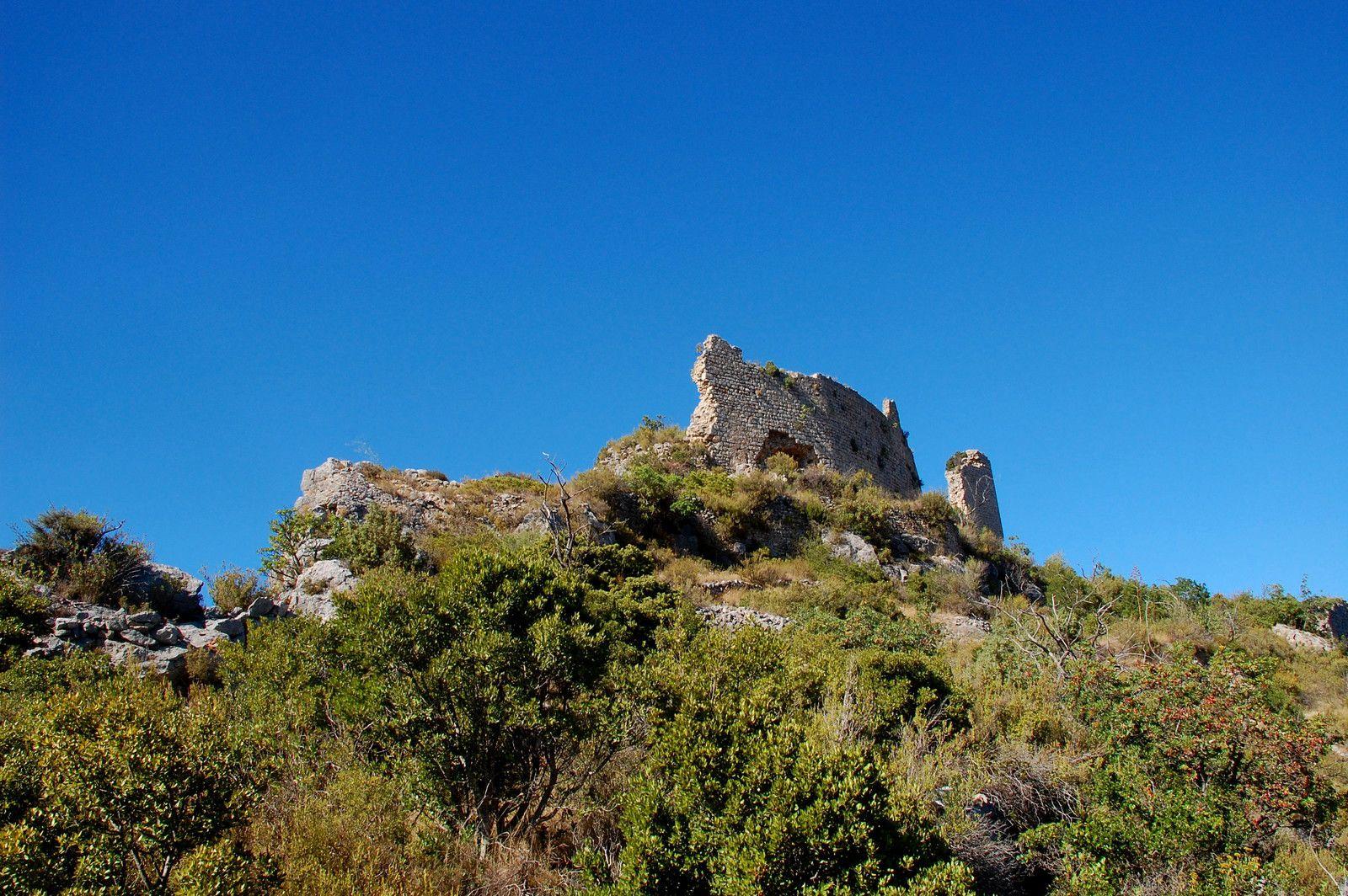 Le dos du château, la face la plus loin du sentier et puis d'en bas, je peux vous dire que le château devait être grand en voyant les vestiges des murs.