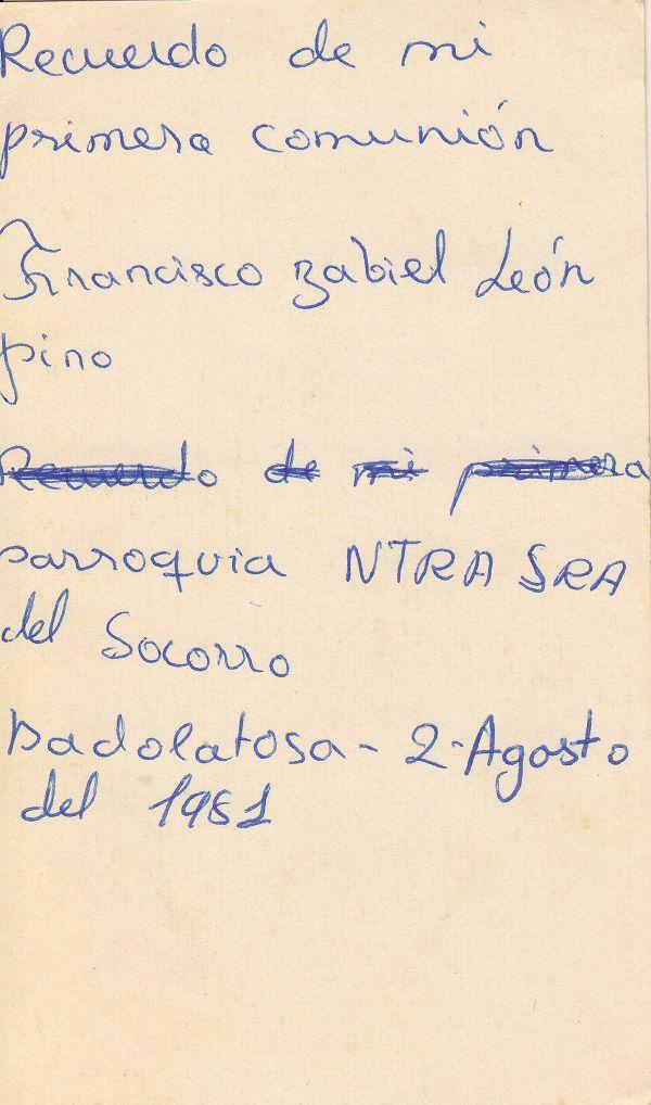 Recuerdos de primera Comunión año 1981