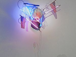 """Keith Sonnier """"War on the worlds"""" (2009), and, Keith Sonnier """"Mirror red sint"""" (2013)"""