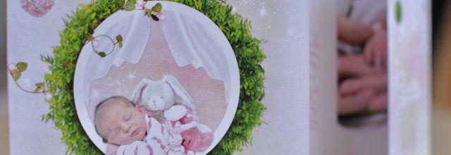 Le faire part de naissance de la petite Giulia ... thème nature, feuillage bambou
