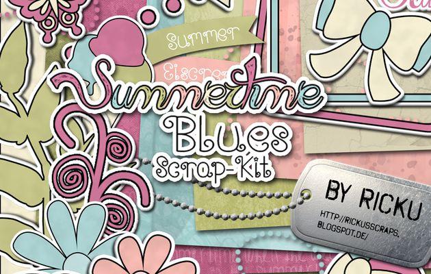 Kit de scrapbooking  en téléchargement gratuitement temps d'été - Summer Time - Textures et embellissements