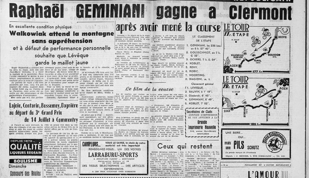 Le 13 juillet 1951 : Géminiani gagne au Marcombes !