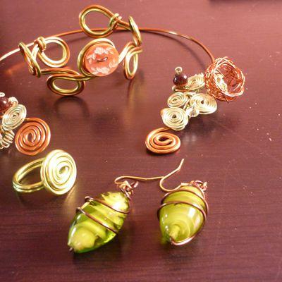 Parure anis/bronze