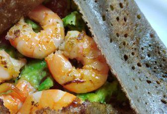 Galette guacamole crevettes