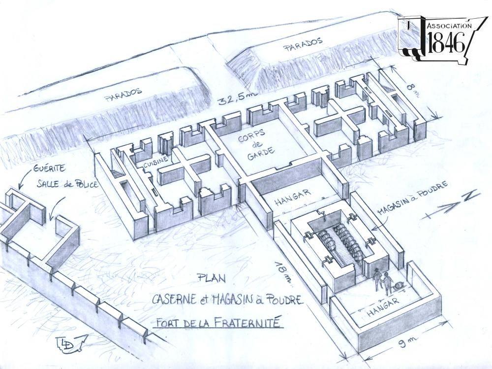 Plan et évocation de la caserne et du magasin à poudre, par Lionel Duigou