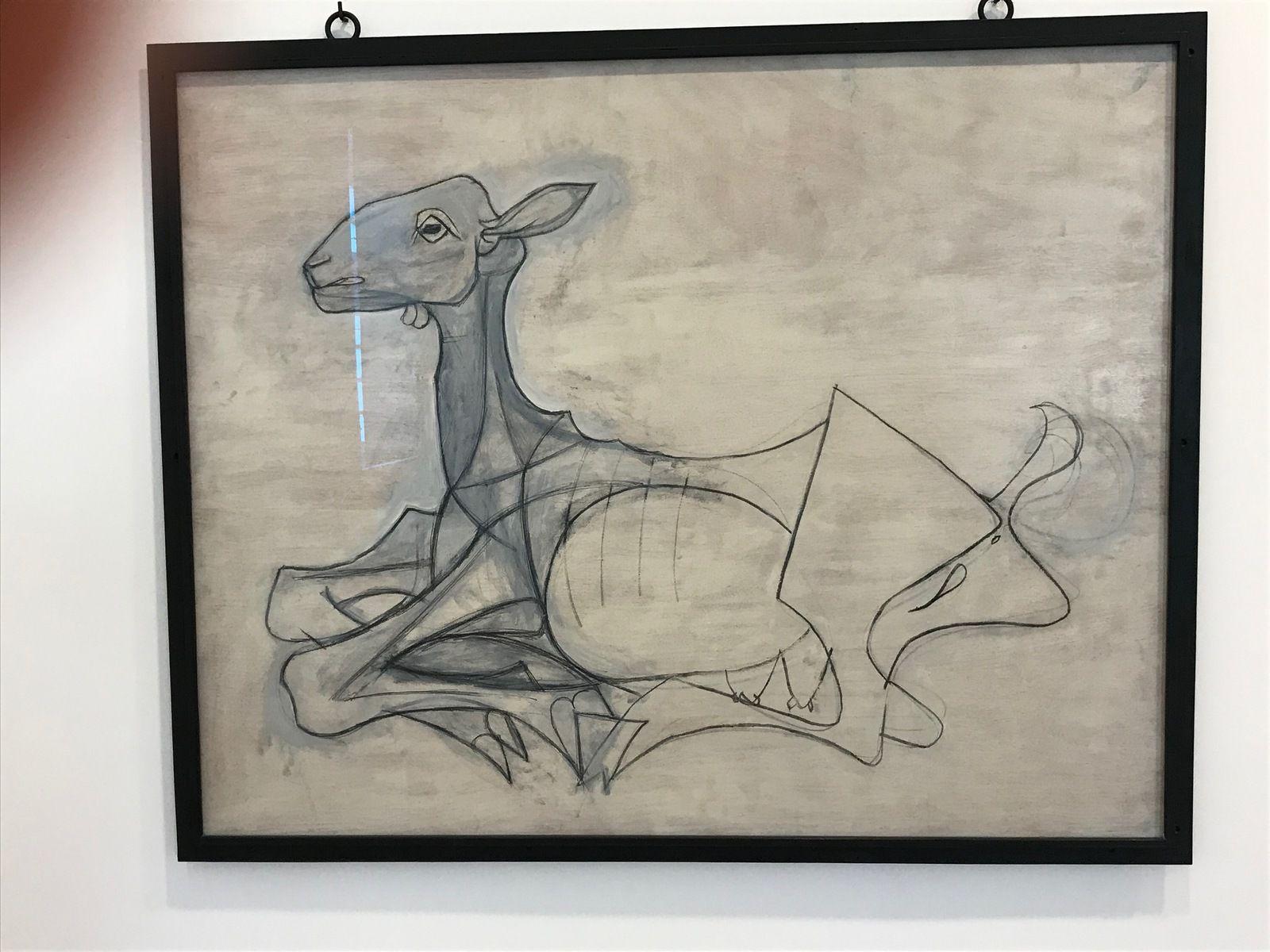 La chèvre – (1946) – Peinture oléorésineuse, fusain et graphite sur contreplaqué