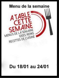 """Menu """" A table cette semaine """" # 112"""