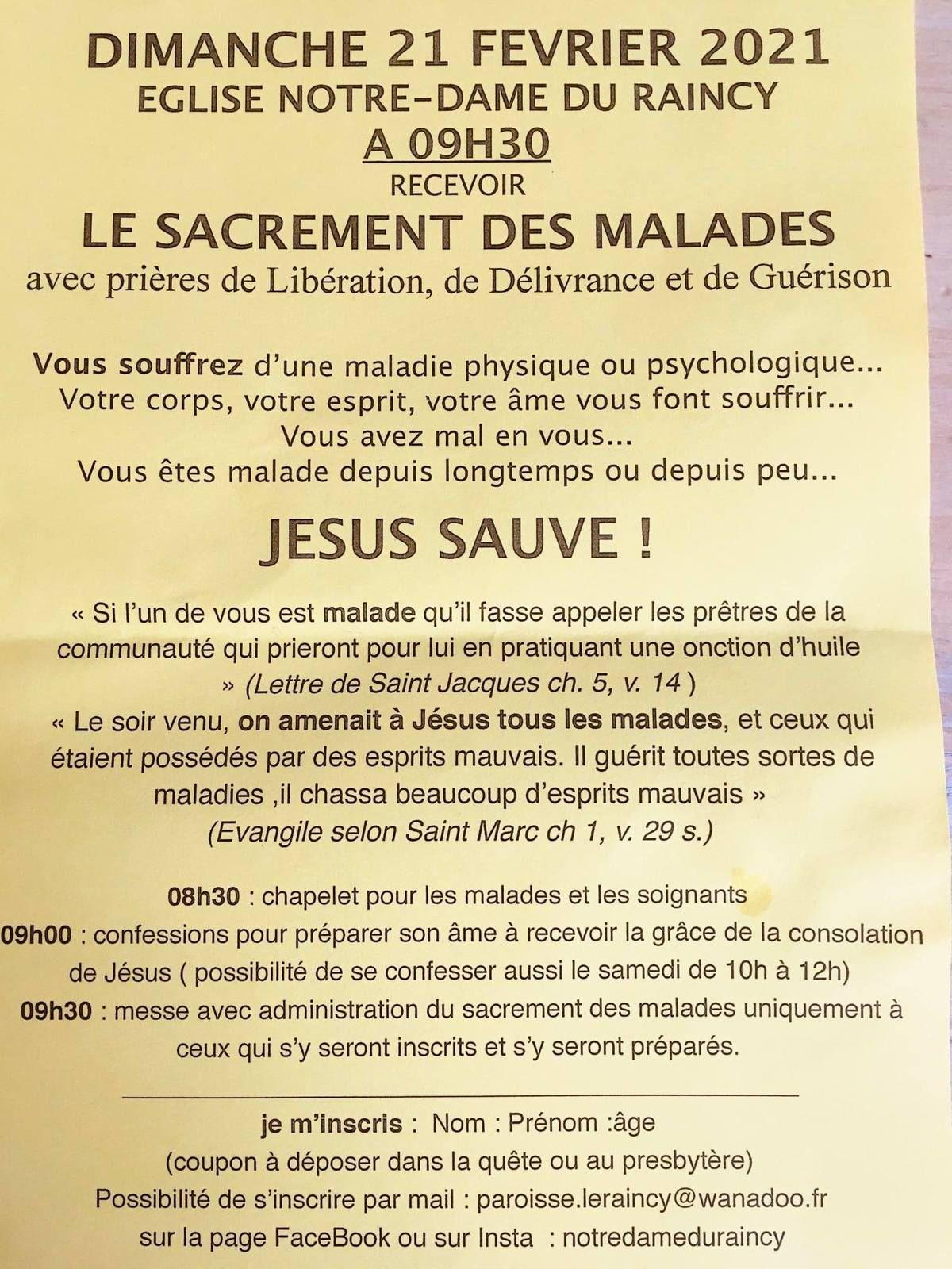 Sacrement des Malades : dimanche 21 février 2021
