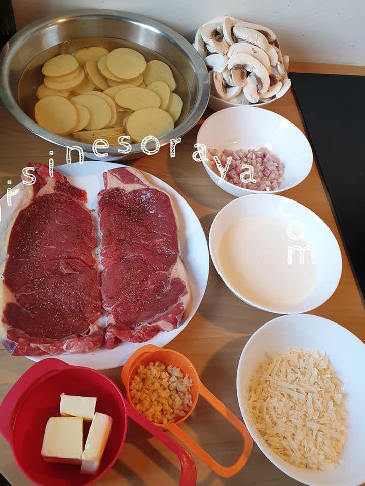 Faux filet sauce champignon, pomme de terre sautées au herbe et épinard à la crème
