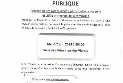 Peltre Réunion publique Prévention des cambriolages, participation citoyenne et vidéo protection le mardi 2 juin 2015