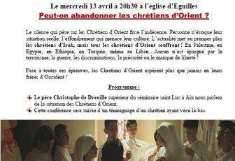 PEUT-ON ABANDONNER LES CHRETIENS D'ORIENT ?
