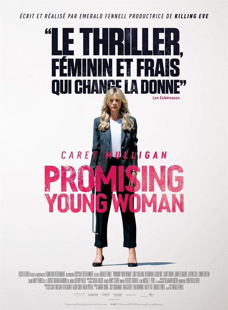 Promising Young Woman de Emerald Fennell avec Carey Mulligan, Bo Burnham, Alison Brie, Connie Britton, Adam Brody, Jennifer Coolidge, Laverne Cox, Max Greenfield, Christopher Mintz-Plasse, Chris Lowell, Clancy Brown et Alfred Molina.