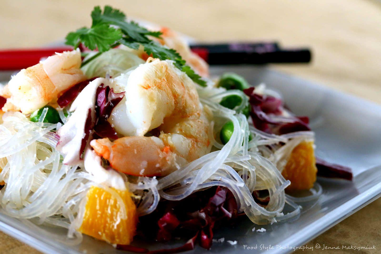 Salade de vermicelles de haricot mungo aux crevettes