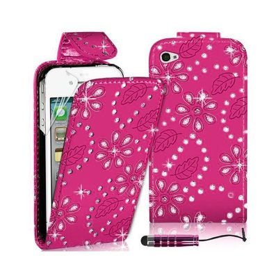 DIAMOND LEATHER FLIP CASE COVER FITS APPLE IPHONE 4/4s -Rose red