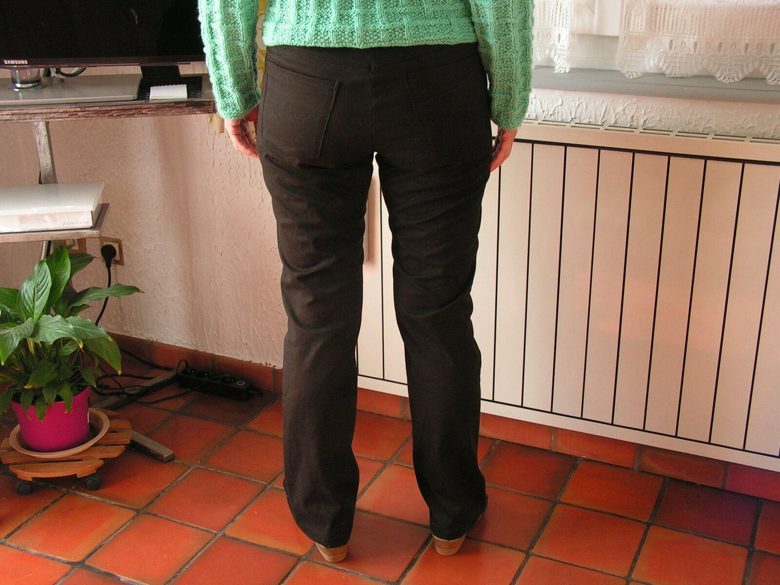 Pantalon noir jean femme droit