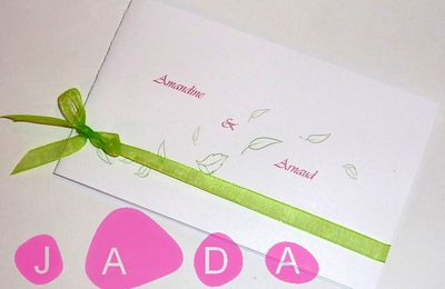 Faire-part de mariage thème végétal, blanc, vert et fushia...