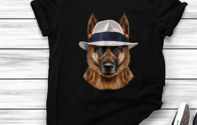 remium German Shepherd Dog in Fedora Hat shirt