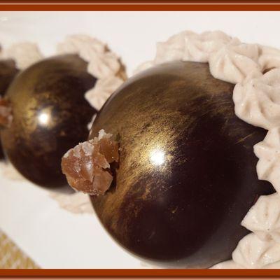 Dômes en chocolat à la mousse de marron