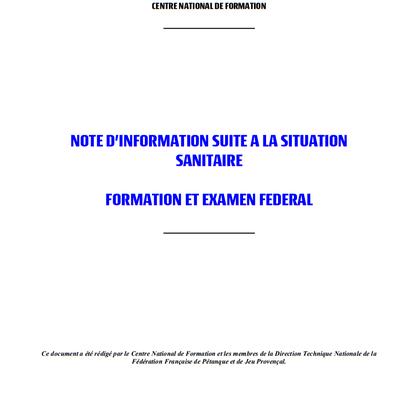 Note d'information suite à la situation sanitaire. Formation et Examen Fédéral : Les Actions Maintenues, les Nouveautés, les Reports, et les Annulations.