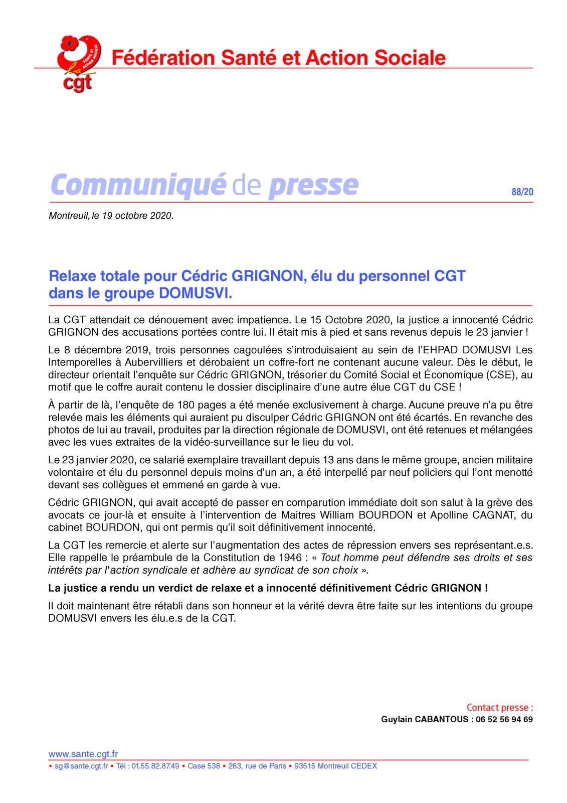 Domus Vi KO! Relaxe totale pour Cédric GRIGNON, élu du personnel CGT dans le groupe DOMUSVI.