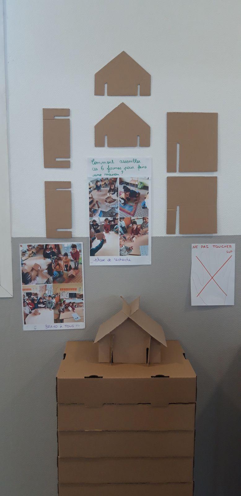 Pour des GS et MS, dessins et peintures à plat, situations de recherche pour fabrication de maisons en papier, situations de recherche pour fixation de maquettes en carton, maisons à manger !