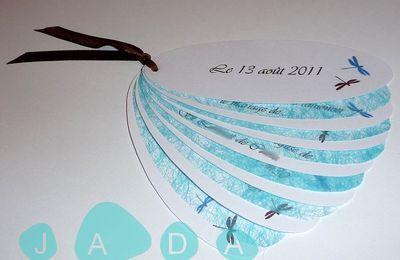 Faire-part de mariage éventail turquoise et chocolat, thème des libellules...