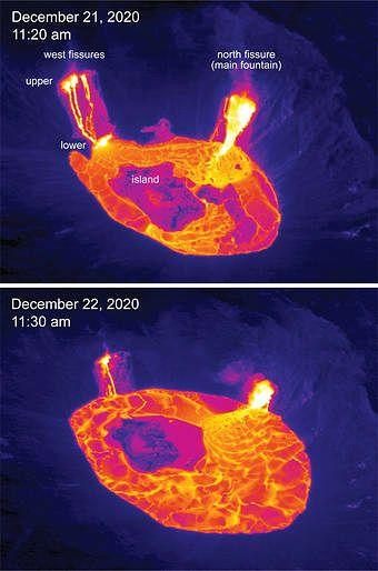 Kilauea - lac de lave de l'Halema'uma'u le 22.12.2020 / 11h30 et le 21.12.2020 / 11h20 - la réduction de hauteur entre le haut et la bas des fissures témigne de l'agmentation du niveau du lac de lave -  Doc. cam.therm. HVO-USGS