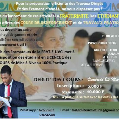 lancement des activités de la FRATERNITÉ DES ETUDIANTS DE L' UVCI.