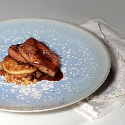 Escalopes de foie gras poêlé aux pommes