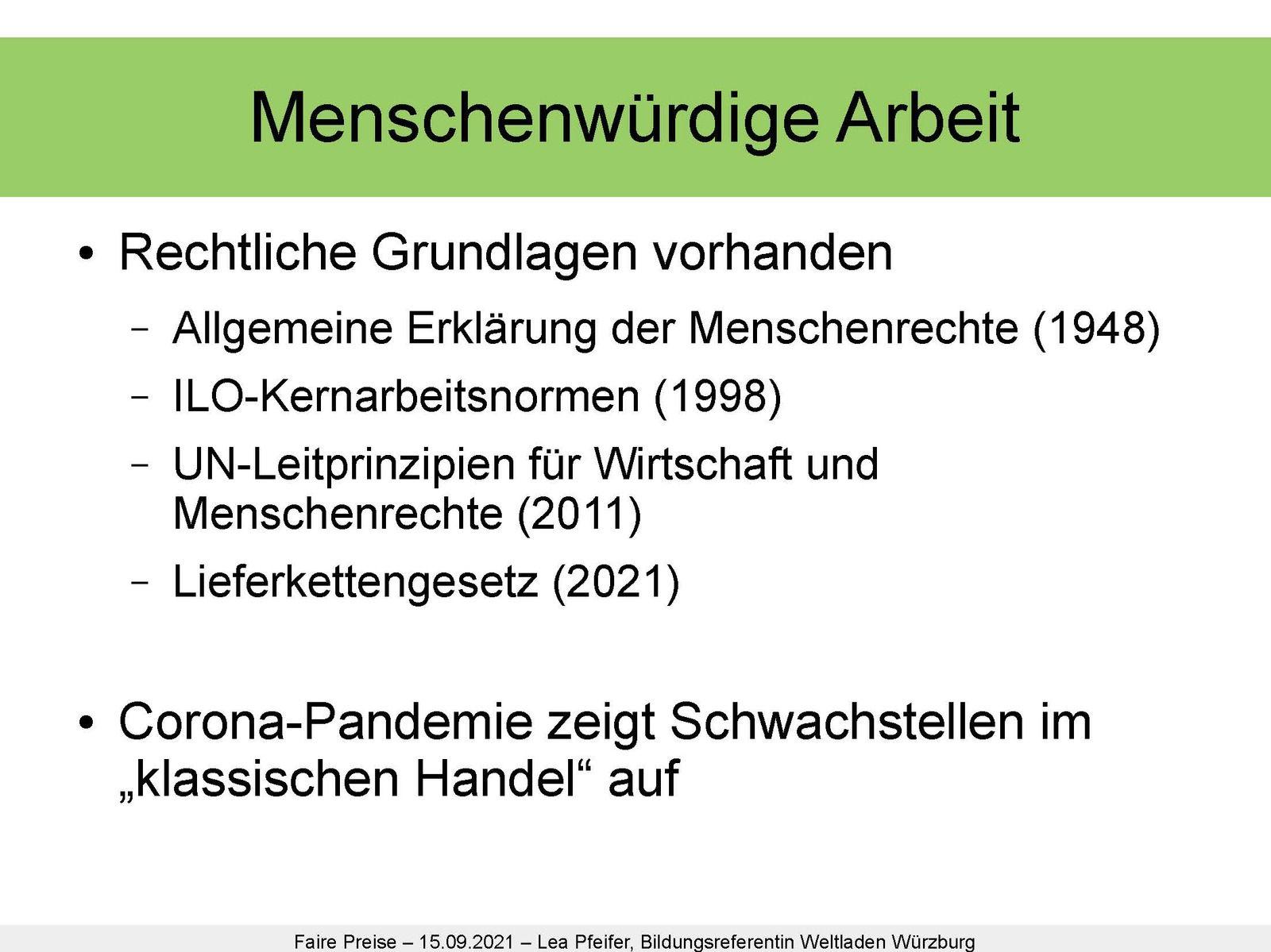 Präsentation des Online-Vortrags bei der Fairen Woche in Veitshöchheim über Bestrebungen von Fairtrade, existenzsichernde Löhne zu ermöglichen