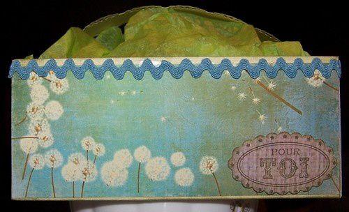 Petits paniers réalisés pour diverses occasions, contenant chocolats ou scrap'bidules.