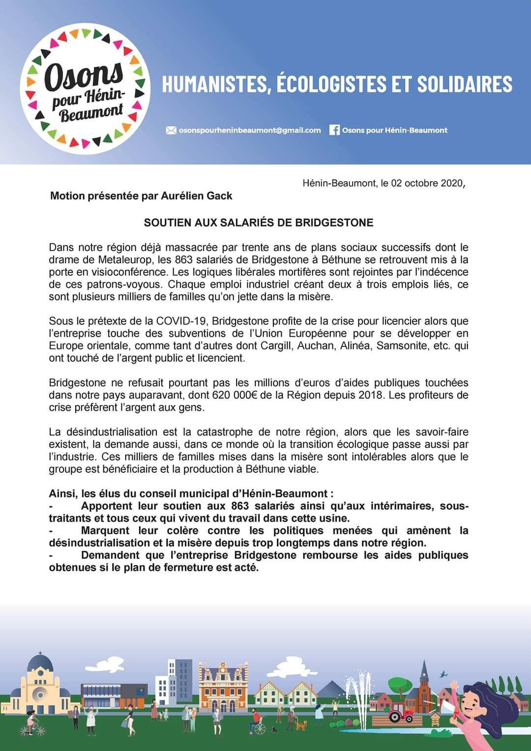 Conseil municipal du 9 octobre 2020 : une motion du groupe Osons pour Hénin-Beaumont en soutien aux salariés de Bridgestone
