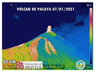 Pacaya - explosive and effusive activity of 07.01.2021 - cam therm.FLIR / Insivumeh / Univ. Bristol