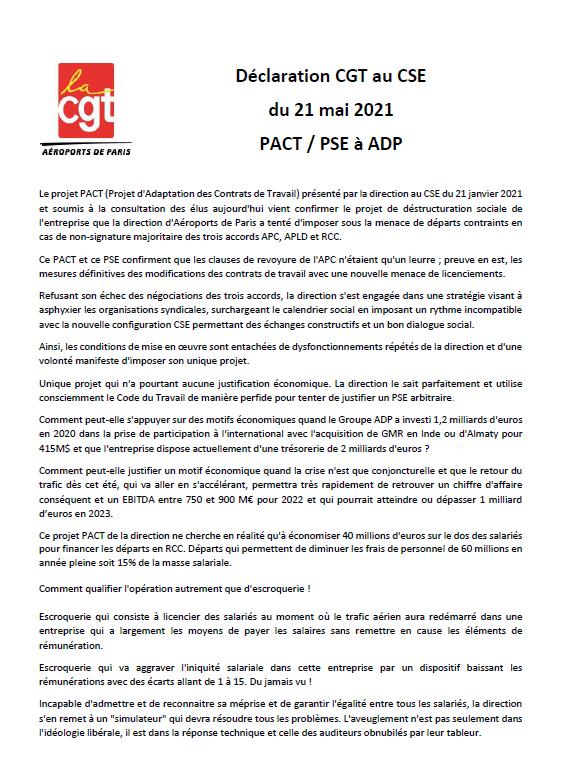 Déclaration élus CGT sur le PACT / PSE au CSE